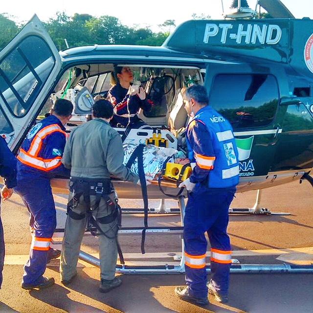 Serviço aeromédico do SAMU Regional Maringá socorre vítima de acidente na PR-317. Foto: SAMU.