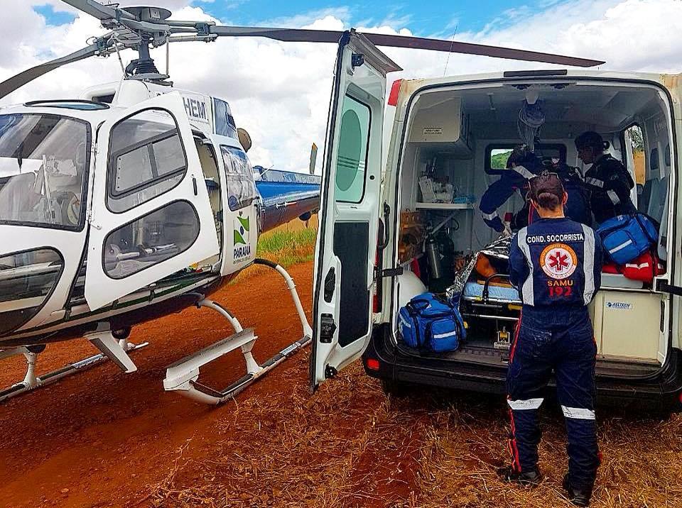 Helicóptero Saúde 02 atendeu vítima de assalto, ferida por arma branca (faca), em Água Boa. Foto: SAMU.