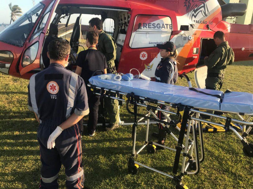 Equipe aeromédica do helicóptero Falcão 05 socorre criança vítima de afogamento em Capela, Alagoas
