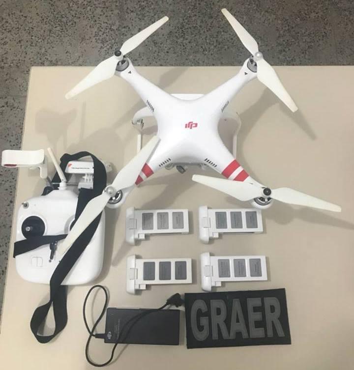 Equipe policial do helicóptero Guardião 02 do GRAER da PM da Bahia prende em flagrante piloto de drone irregular