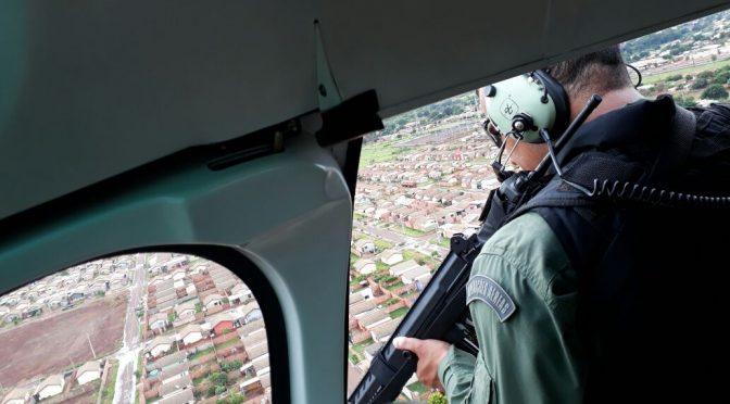 Helicóptero reforça policiamento preventivo da cidade de Dourados