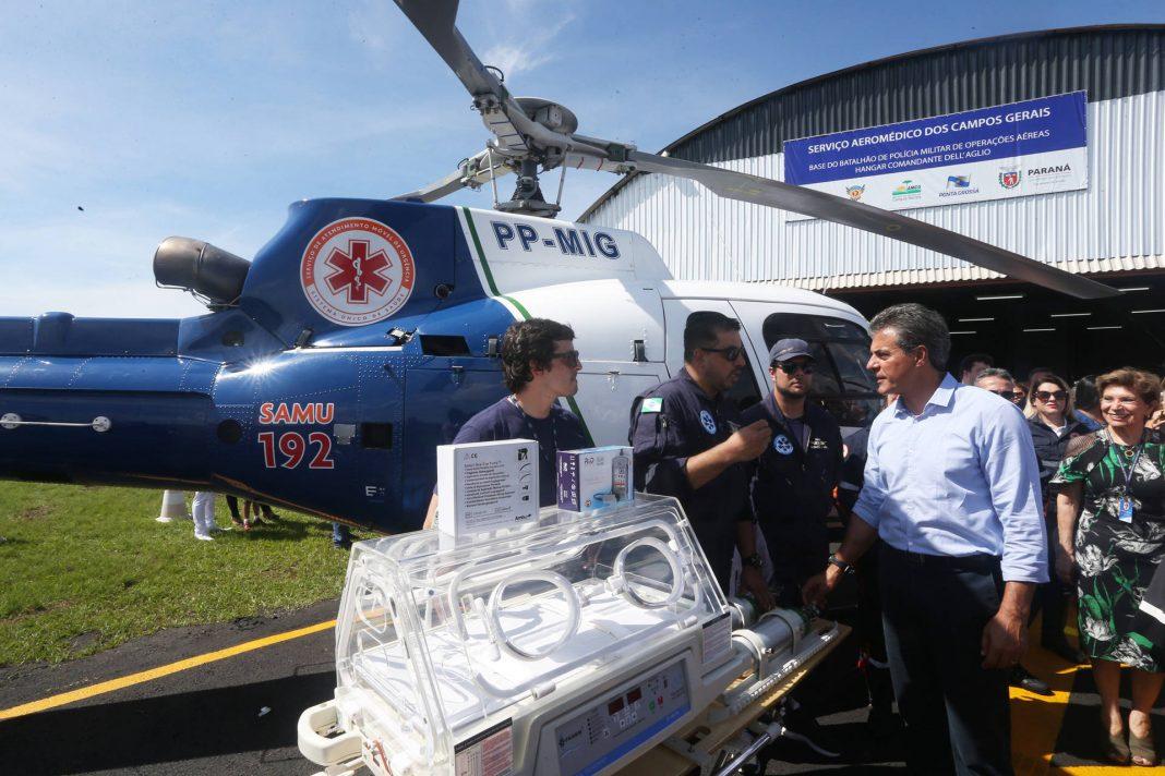 O Governo do Estado estendeu o serviço policial e aeromédico para mais 57 municípios paranaenses. Os helicópteros vão atender um raio de 250 quilômetros. Foto: BPMOA.