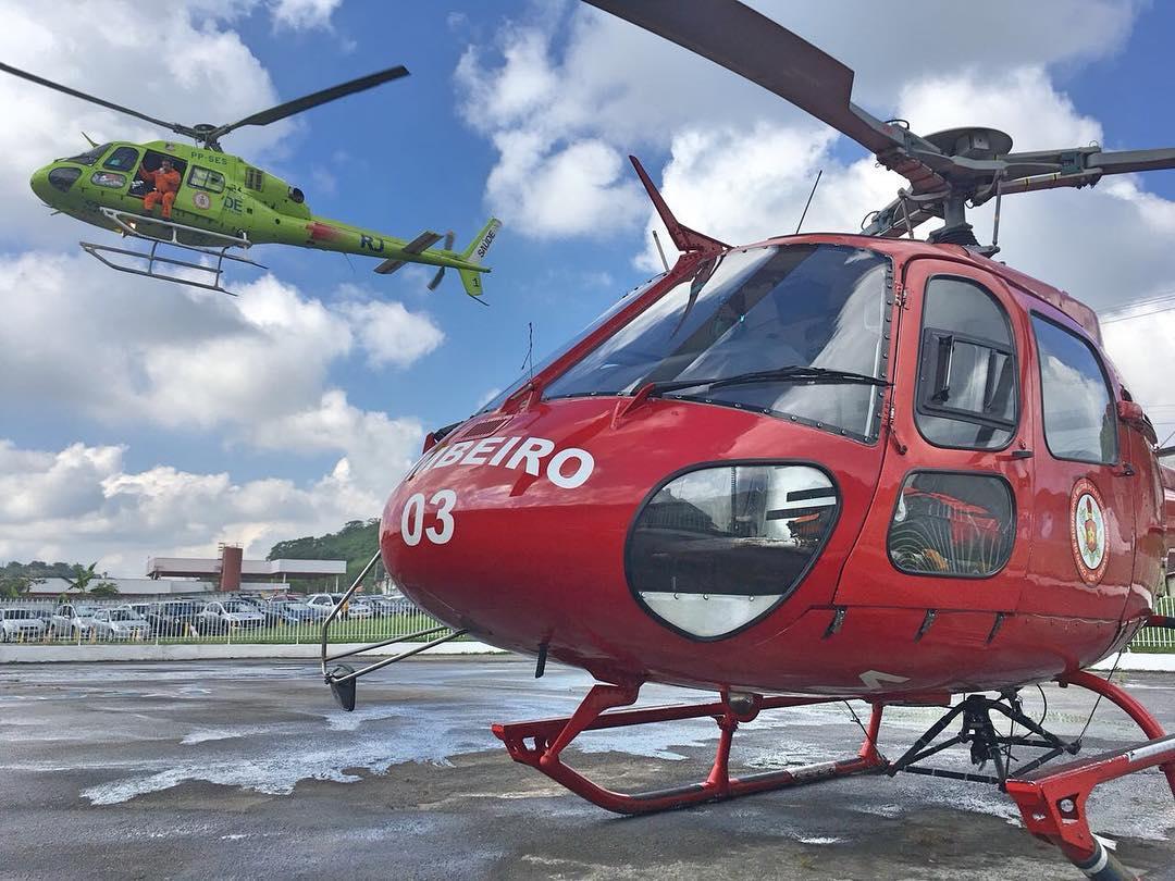 Helicópteros operados pelo GOA/CBMERJ e utilizados nos transportes de órgãos no Rio de Janeiro. Foto: Rammon Dias CBMRJ.