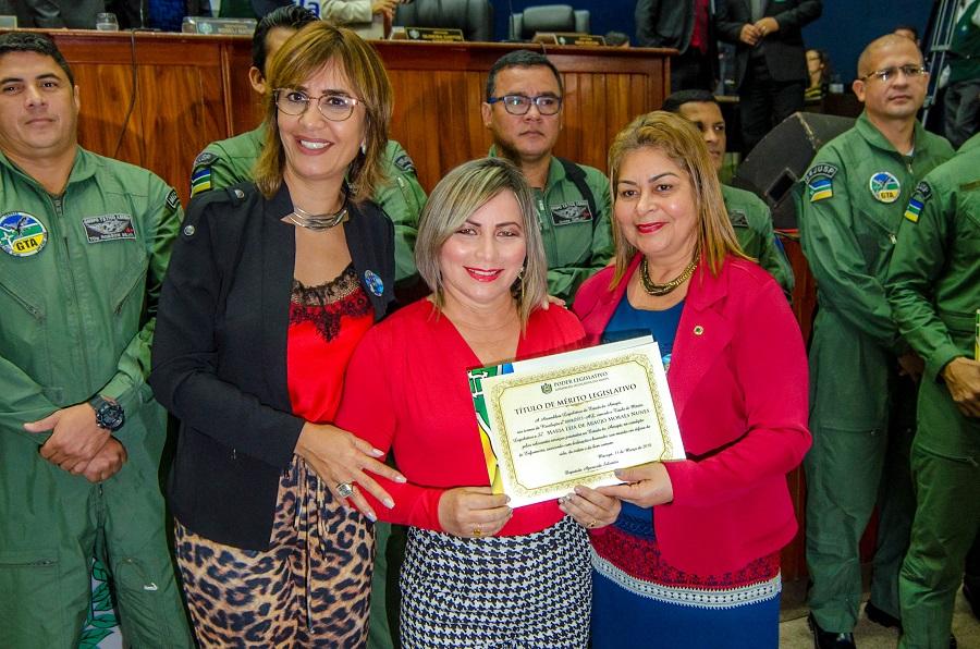 Deputada Aparecida Salomão foi a autora da proposta de homenagem à equipe que atendeu a ocorrência em junho de 2017. Foto: Maksuel Martins/Secom