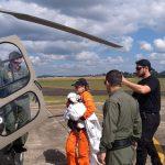 Helicópteros da Polícia Civil e Militar são empregados para transportar criança de 1 ano de Chapecó a Florianópolis