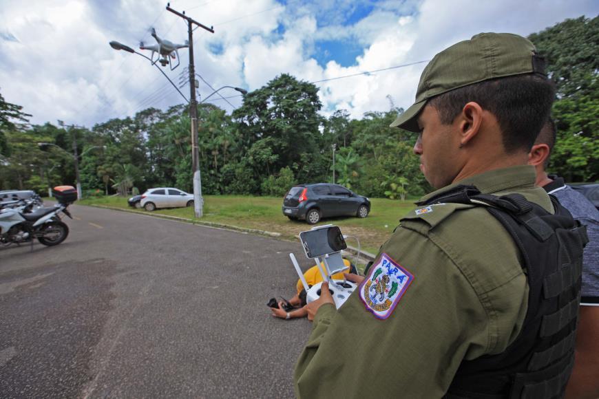A Polícia Militar iniciou o processo de habilitação ao 1º Curso de Operador de Aeronaves Remotamente Pilotadas (RPA - Remotely Piloted Aircraft). Foto: MÁCIO FERREIRA / AG. PARÁ.