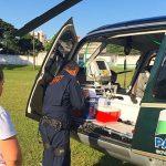 Helicóptero do SAMU realiza resgate de vítima grave na PR-317 e transporte de órgão