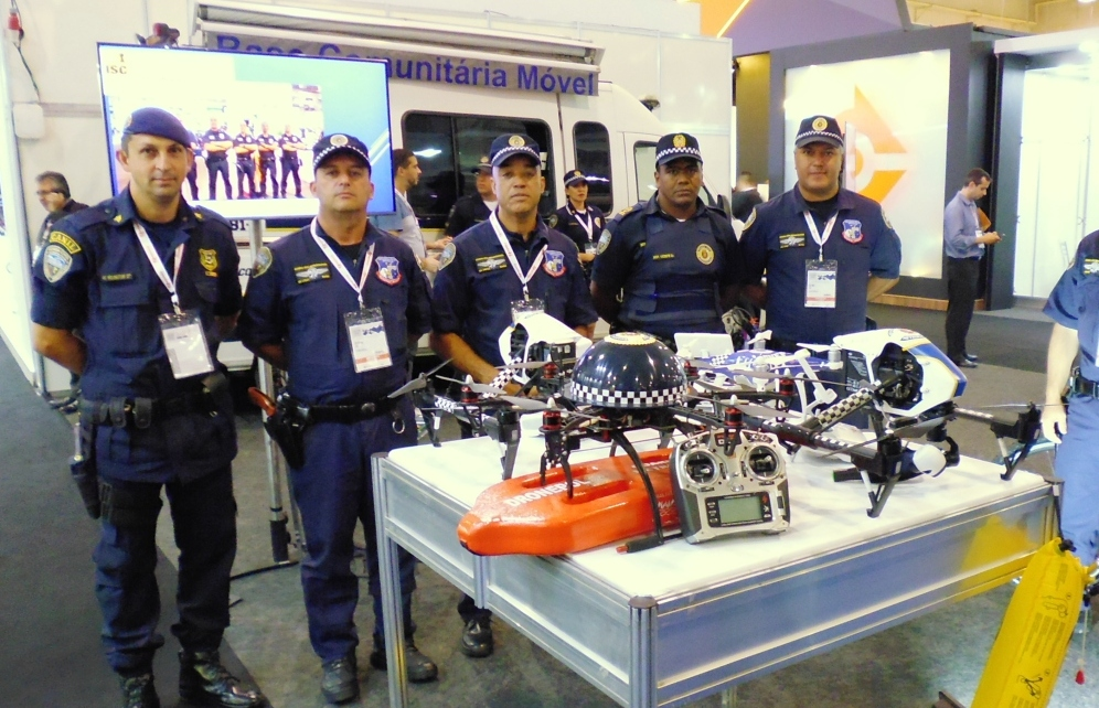 Equipamentos utilizados pelo Dronepol da Guarda Civil Metropolitana de São Paulo apresentados durante a LAAD Security 2018.