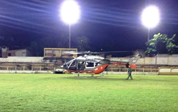 EC145 do CIOPAer do Ceará é usado para socorrer homem que caiu de prédio no Centro de Guaramiranga.