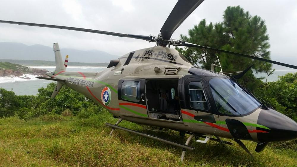 O helicóptero Águia 02 está em fase de substituição do motor provisório - PM/Divulgação/Arquivo/ND