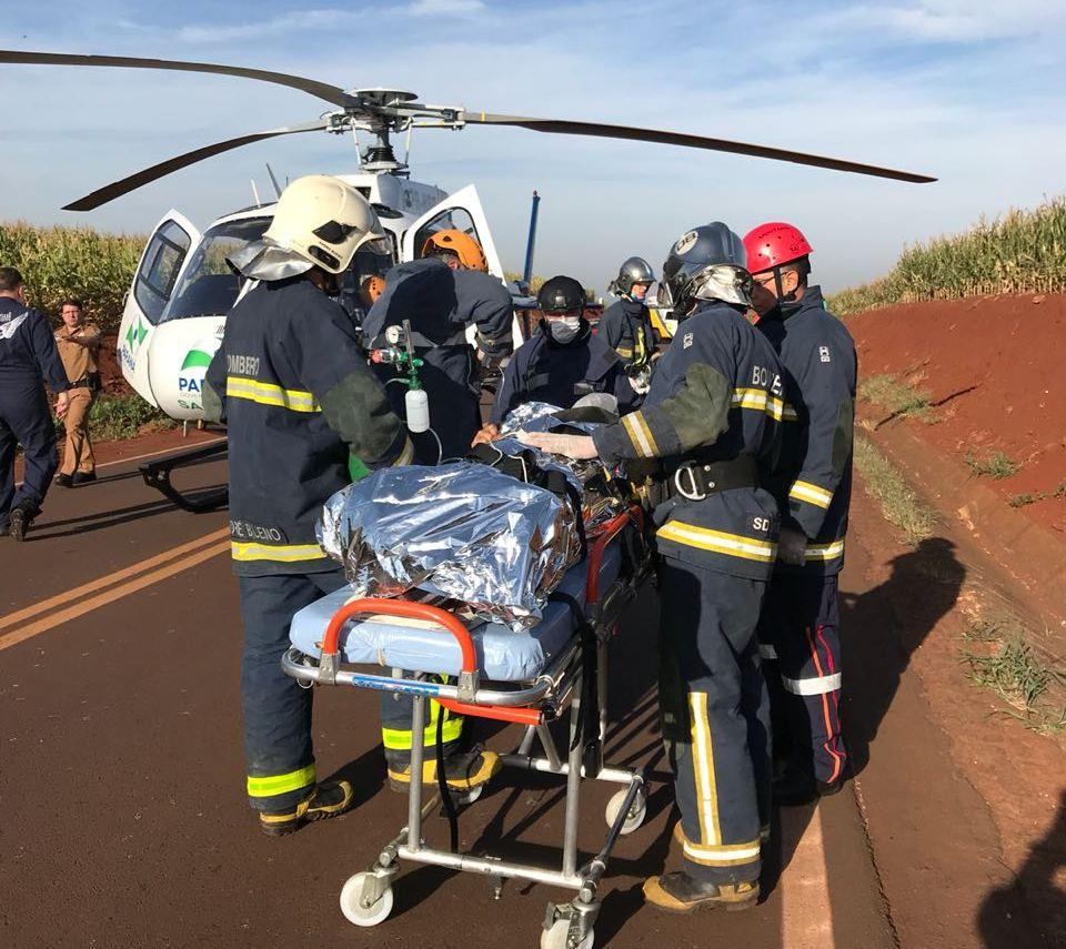 Helicóptero do SAMU Maringá é acionado para resgate na PR-552