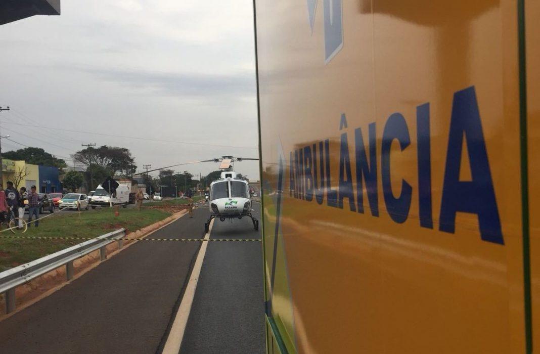 Equipe aeromédica do SAMU de Maringá socorre vítima de atropelamento na BR-376
