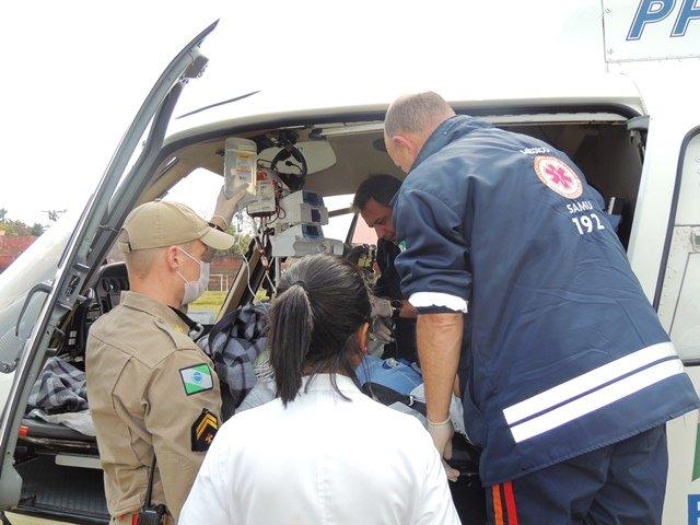 Serviço aeromédico da Base Campos Gerais faz primeiro atendimento em Jaguariaíva. foto: divulgação