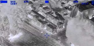 Drone sendo acompanhado pelo imageador do helicóptero policial