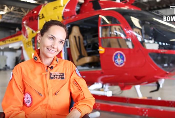 Capitã Karla Lessa resgata vítimas em Brumadinho - Reprodução / TV Bombeiro
