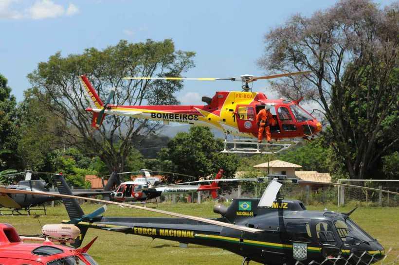 Quantidade de helicópteros em espaço restrito exige controle rigoroso (foto: Túlio Santos/EM/D.A Press)