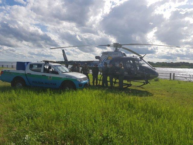 Helicóptero cedido pela Sejusp usado na fiscalização, que irá durar até segunda-feira (Foto/Divulgação: PMA)