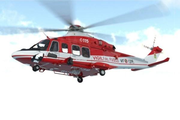 Um dos dois primeiros AW139 entregues pela Leonardo para o Corpo Nacional de Combate a Incêndio da Itália.