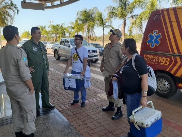 Força tarefa para transporte de órgãos de Três Lagoas para Campo Grande, entre bombeiros de Três Lagoas e Central Estadual de Transplantes (CET/MS). Foto: 5º GBM.