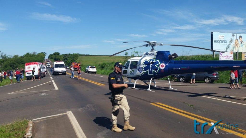 Recentemente o helicóptero do Samu foi mobilizado para remover vítimas de acidente na BR-272 entre Goioerê e Janiópolis
