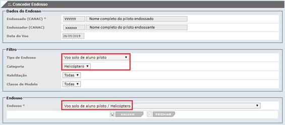 Tela para registro de endosso onde as orientações para preenchimento constam na IS 61-006 (Revisão E)