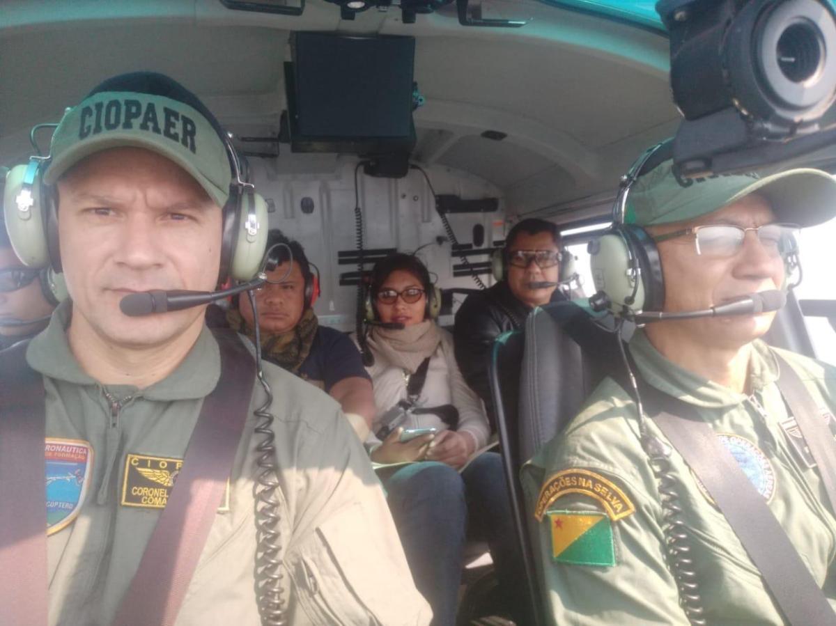 Participaram da operação oficiais do Ciopaer, Policiais do FELCN da Polícia Nacional da Bolívia, e o coordenador do Gerenciamento Integrado de Fronteiras (Gefron) Foto: Ascom.