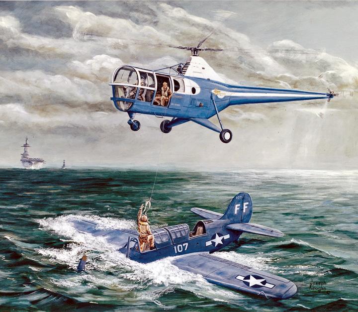 Uma pintura de Joe Keogan, arquivista da Sikorsky Archives, registra o Primeiro Resgate Naval em 9 de fevereiro de 1947