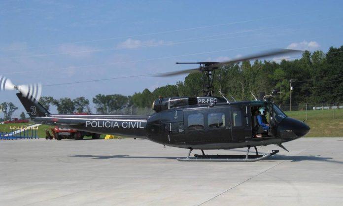Helicóptero da Polícia Civil é apresentado ao público, em setembro de 2008; apelidado prontamente de Caveirão Voador - Foto divulgação Foto: Divulgação