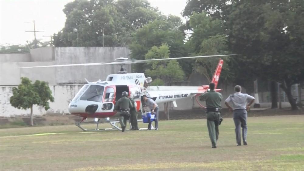 Helicóptero Águia, da Polícia Militar de Araçatuba, transportou coração para Botucatu — Foto: Reprodução/TV TEM