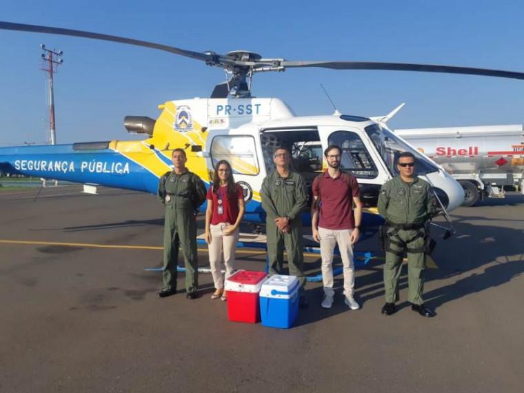 Helicóptero da SSP auxiliou no transporte / Foto: Divulgação/Saúde