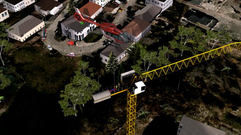 O simulador de voo completo de nível D usa realidade virtual para simular missões de resgate de guinchos. DRF Luftrettung Foto