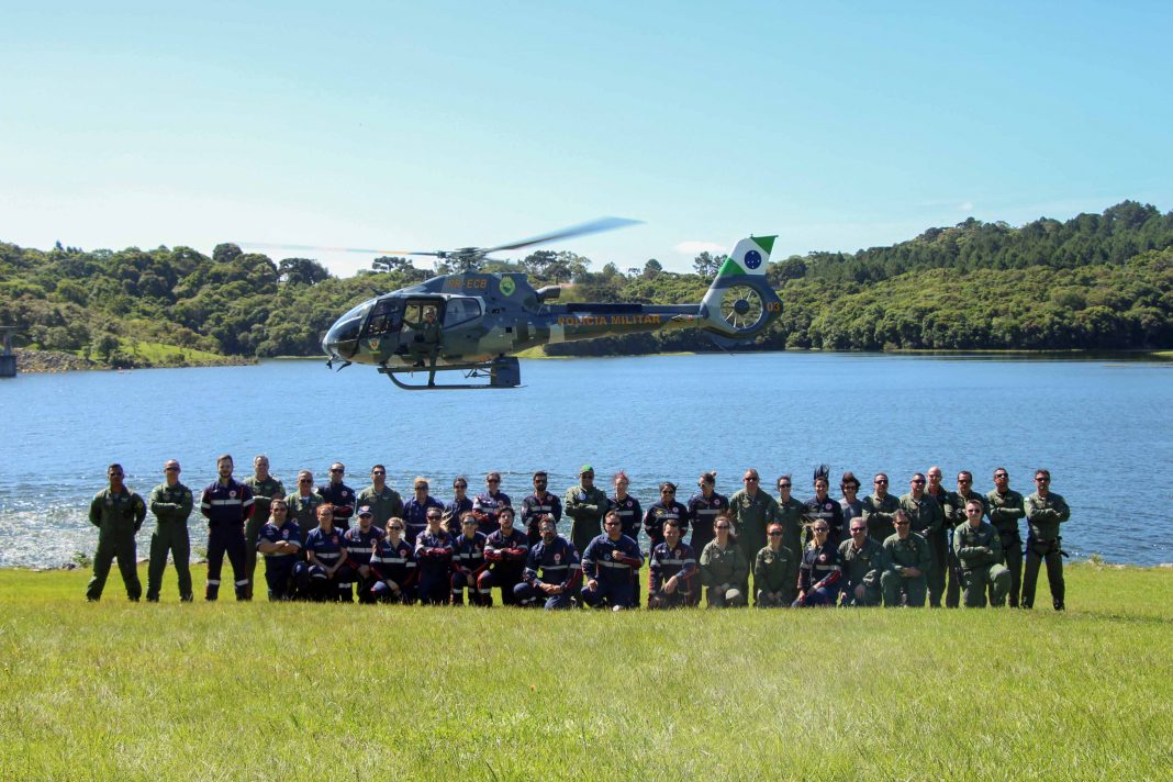 Piraquara, 29 de novembro de 2019. BPMOA faz treinamento com equipes de resgate aeromédico.