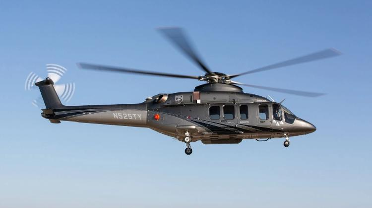 Helicóptero Bell 525 com trem de pouso com rodas retráteis Imagem: Divulgação/Bell Helicopters