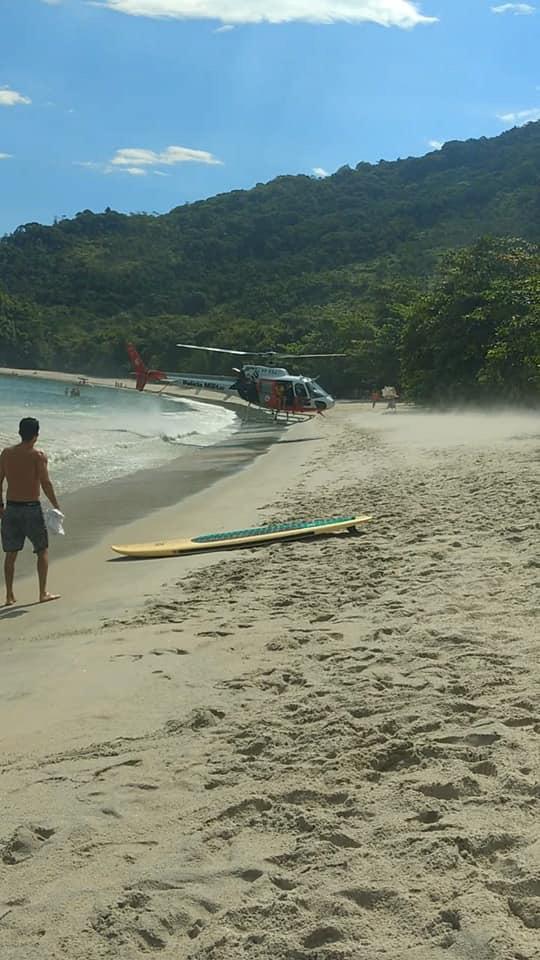 CAv/PMESP realiza salvamento na Praia da Justa durante Operação Verão