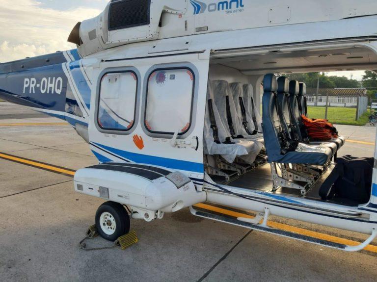 A Omni adaptou os helicópteros AW139 e S-76C + como aeronaves sanitárias para transportar passageiros com suspeita de gripe ou resfriado e usará uma aeronave aeromédica S-76C ++ para transportar pacientes suspeitos ou confirmados de COVID-19. Foto Omni