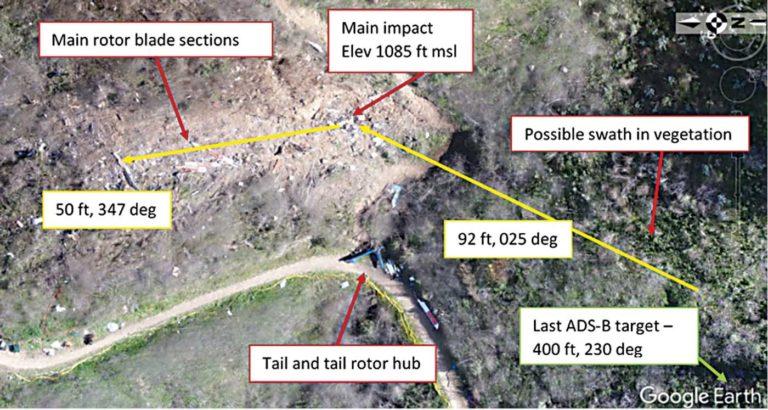 Um mapa da área de destroços perto de Calabasas. Imagem NTSB