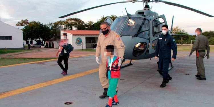 Criança foi socorrida na região de Porto Índio / Foto: Divulgação Marinha do Brasil