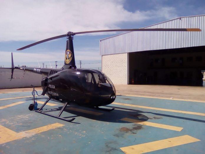 Helicóptero Falcão 03 deve ser usado em fiscalizações em balneários e festas clandestinas em RO — Foto: Diêgo Holanda/G1
