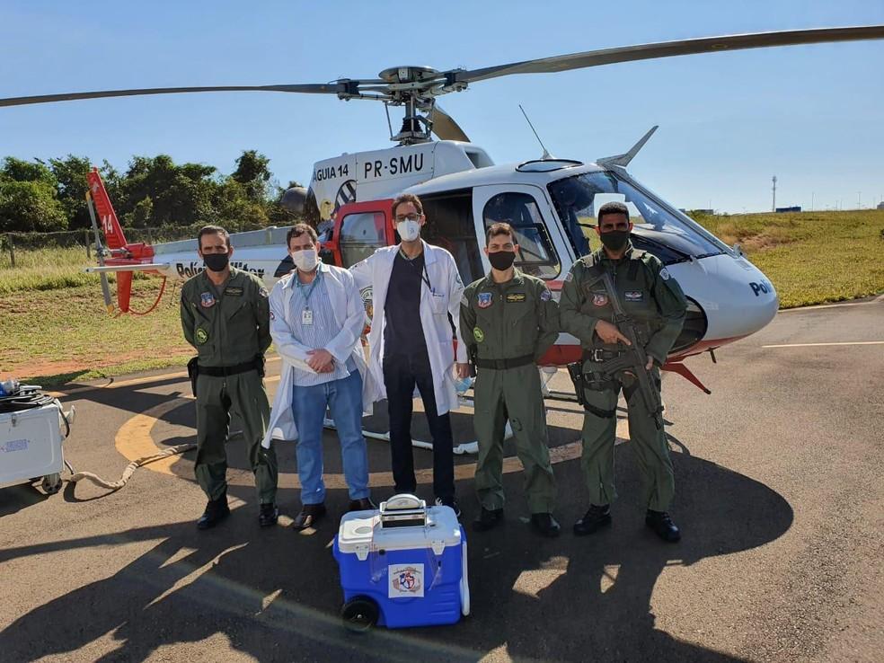 Helicóptero Águia de Bauru fez a primeira operação de transporte de órgão neste ano: queda nas doações durante a pandemia — Foto: Polícia MIlitar/Divulgação