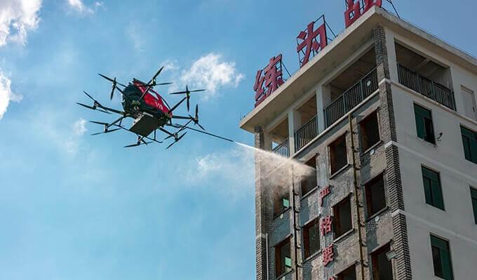 EHang 216F, extinguindo um incêndio em arranha-céus em Yunfu, China. Foto: EHang Holdings Limited