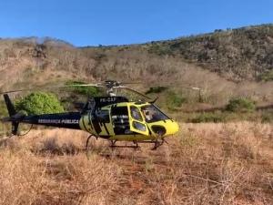 Grupamento aéreo do 3º BPM de Arapiraca foi acionado para o resgate FOTO: Cortesia/CBMAL
