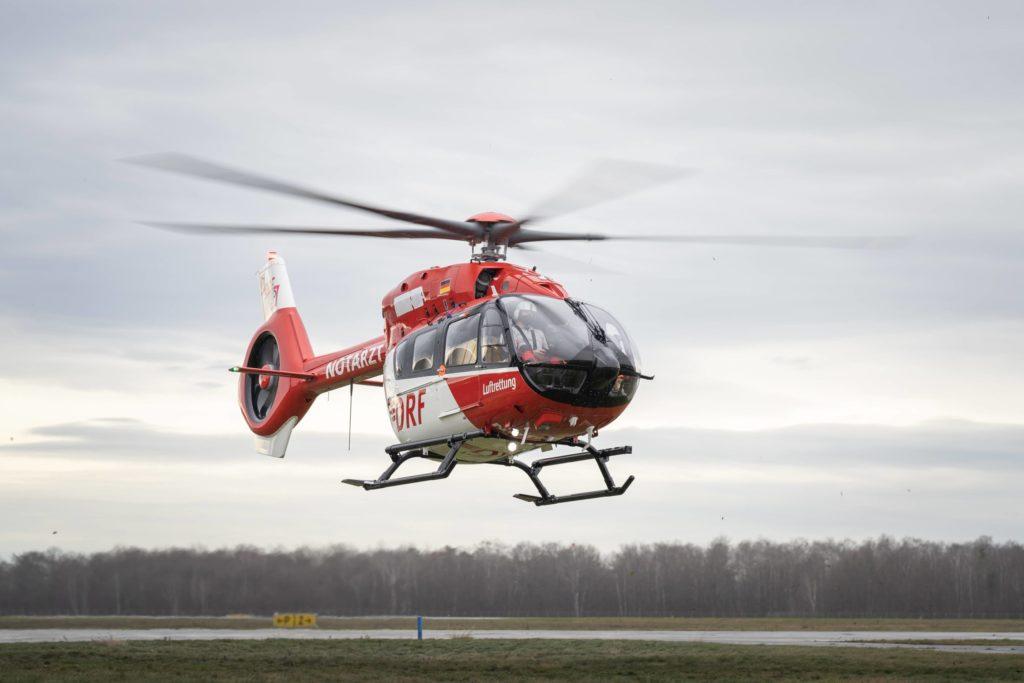 Chegada do novo H145 ao centro de operações da DRF Luftrettung. Foto DRF Luftrettung