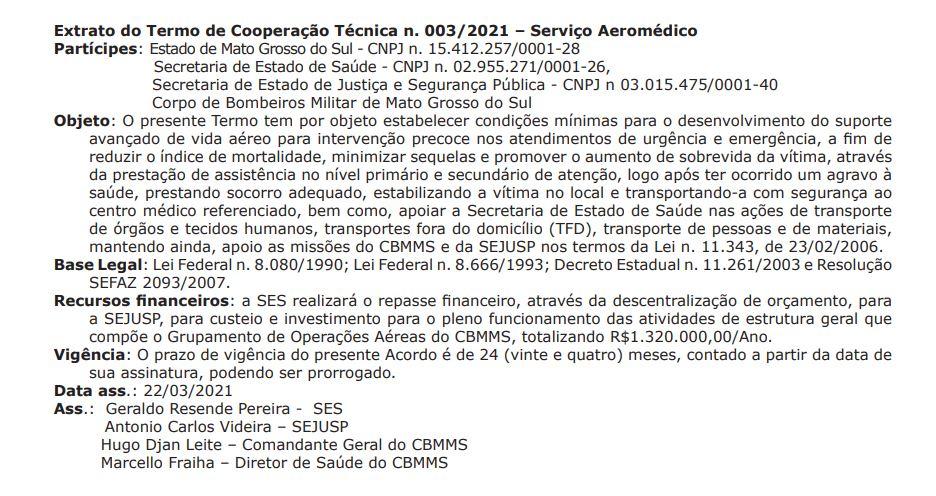Extrato de Cooperação Resgate Aeromédico