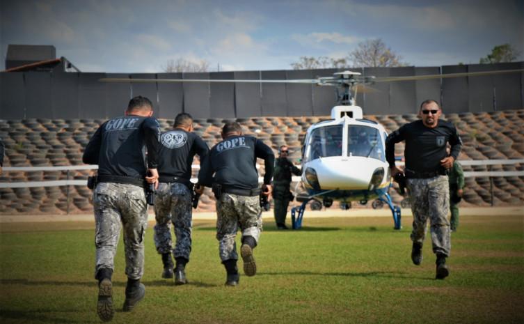 16 policiais penais do Grupo de Operações Penitenciárias (Gope) participaram do treinamento com aeronaves - Foto: Marcos Miranda/Governo do Tocantins