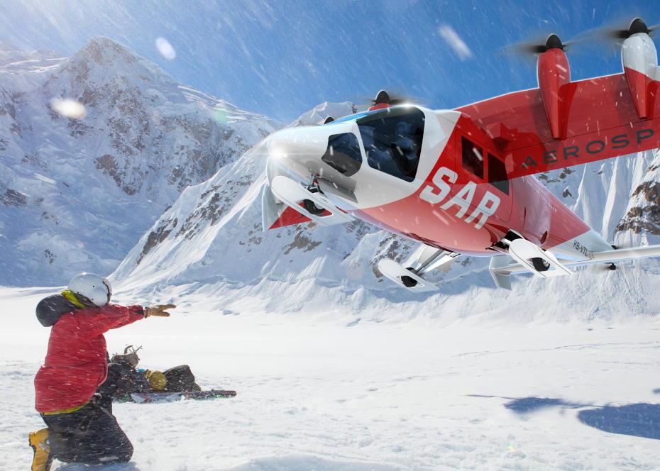 O Aero3 eVTOL da Dufour terá um sistema de propulsão híbrido para o desempenho necessário para competir com helicópteros de resgate convencionais. Imagem Dufour Aerospace