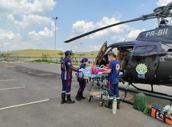 A paciente foi transferida do Hospital de Brasileia para o Pronto-Socorro de Rio Branco. Foto: Cedida